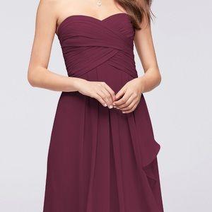 Strapless crinkle chiffon dress in wine